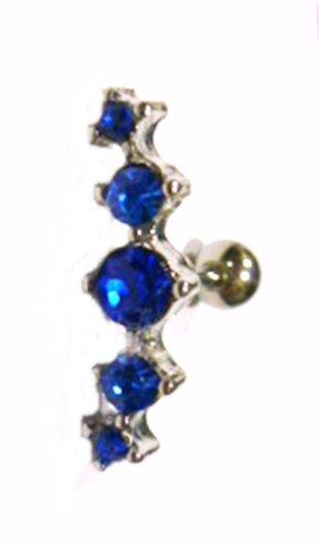 Cartilage Ear 5 Gem Bright Blue 16 Gauge Body Jewelry