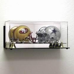 Deluxe Acrylic Double Mini Football Helmet Display Case - Wall Mountable