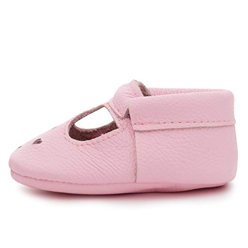 BirdRock Baby Mary Janes (Genuine Leather) - Soft Sole Baby Girl Shoes for Newborns, Infants, Babies, and Toddlers - T-Strap Mary Jane Shoe for Girls (Light Pink, US 2)