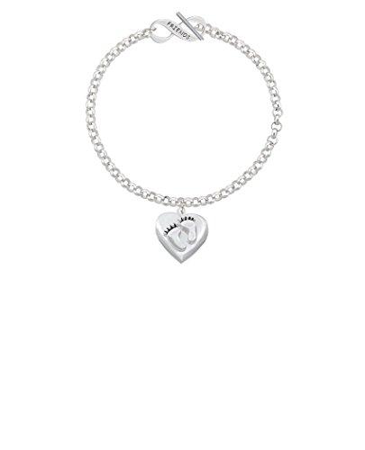 Silvertone Baby Feet Heart Locket Friends Infinity Toggle Chain Bracelet, 8