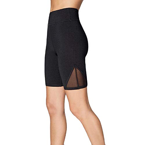 SNOWSONG Women's High Waist Yoga Shorts Running Workout Active Shorts Mesh Legging with Pockets