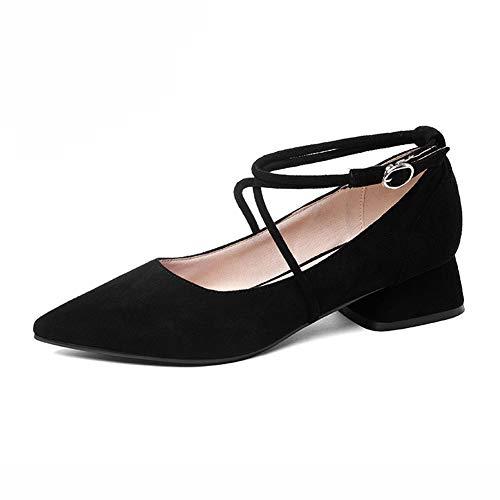 Damenschuhe Straps Farbe Retro Wies Herbst Female Ferse Damen HWF SCHWARZ größe Single Schuhe 39 Flachen Cross Mittlere Shoes Mund ZPqZrCw