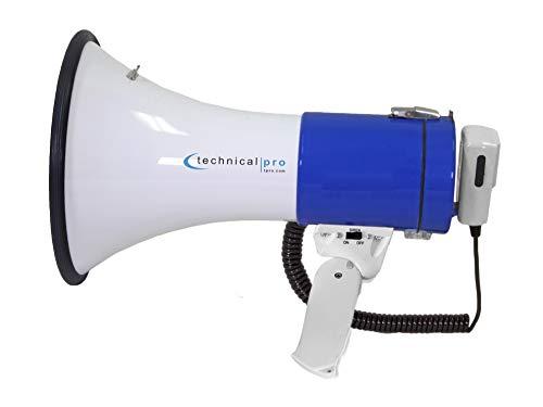 - Technical Pro Megaphone Speaker PA Bullhorn 40 WATT with Built-in Siren - Adjustable Volume, 1000 Yard Range! - Ideal for Football, Soccer, Baseball, Basketball Fans, Coaches, Safety Drills MPH40