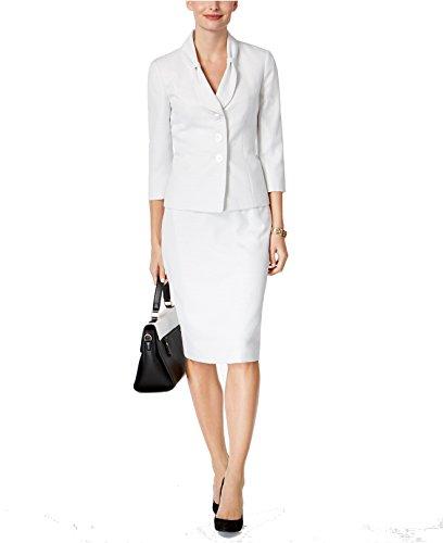 Le Suit Women's Petite Bow-Collar Dot-Print Skirt Suit White 8P -
