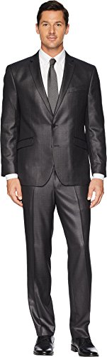 Kenneth Cole Unlisted Men's 2 Button Slim Fit Suit with Hemmed Pant, Charcoal Grey, 44 Short (Blazer Fully Lined Three Button)