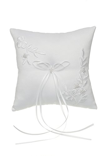 Venus Jewelry Pearl Embroided Flower Leaves Wedding Ring Bearer Pillow 7 Inch x 7 Inch - White RP010W