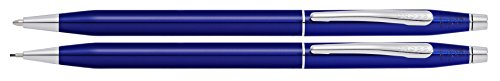 Cross Classic Century Blue Lacquer Ballpoint Pen & 0.7mm Pencil with Chrome Appointments