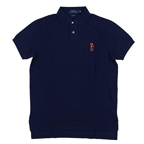 Polo Ralph Lauren Men Custom Fit Mesh Polo Shirt Navy Bear (Medium)