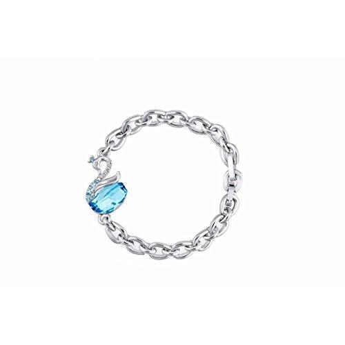 NEVI Swan Animal Fashion Swarovski Elements Rhodium Plated Charm Bracelet Jew