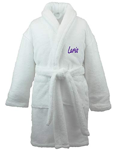 BC BARE COTTON Personalized Name Custom Kids Microfiber Fleece Shawl Robe - Boys - White - Large]()