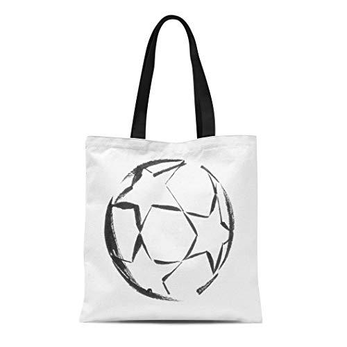 Semtomn Cotton Canvas Tote Bag Watercolor Abstract Black Ink Soccer Ball Stars Activity White Reusable Shoulder Grocery Shopping Bags Handbag Printed