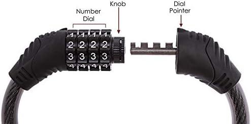 RORIO 自転車ケーブルロック 4桁 安全 再設定可能 組み合わせ コイルケーブル 自転車ロック 取り付けブラケットなし 2フィート x 1/2インチ