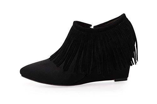 BalaMasa Girls slip-on kitten-heels frange satinato pumps-shoes, Nero (Black), 35