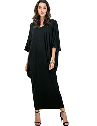 Verdusa Women#039s Loose Batwing Dolman Sleeves Maxi Long Boho Dress Black L