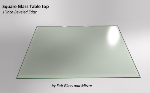 Fab Glass and Mirror Square Clear Glass Table Top 36'' Inch Tempered 1/2'' Thick Bevel Polish Radius Corners by Fab Glass and Mirror (Image #1)
