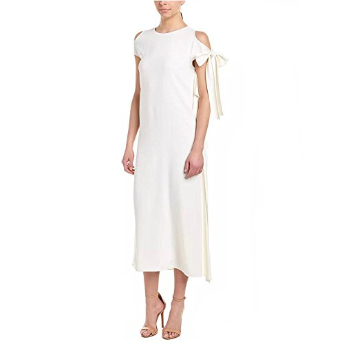 Tie Silk Trim Ruffle Ivory Midi Dress XS ()