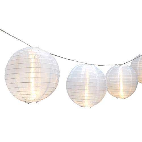 Strand of 10 Lantern String Lights, Connectable, 8 White Jumbo Lanterns, Warm White LEDs, Water Resistant, Indoor/Outdoor Use, 25 Feet, Expandable to 100 LEDs, UL Listed