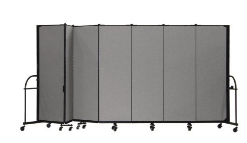 13 Panel Room Dividers - Screenflex Heavy Duty Portable Room Divider (HFSL607-DG) 6 Feet High by 13 Feet 1 Inches Long, Designer Stone Fabric