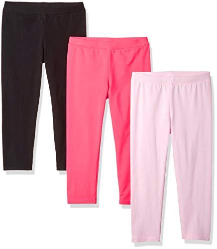 Amazon Essentials Little Girls' 3-Pack Capri Legging, Cherry Blossom/Raspberry Sorbet/Black Beauty, S