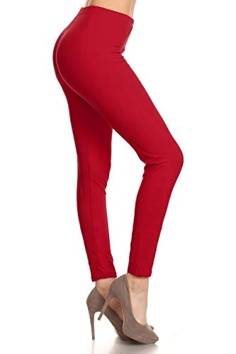Leggings Depot Buttery Soft Basic Solid 43 COLORS Best Seller Leggings Pants Carry 1000+ Print Designs (One Size (Size 0-12), Tango Red)