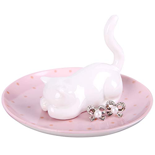 (easyum Ring Holder Ring Dish Jewelry Holder Plated Trinket Tray for Women Girls Birthday Gift Jewellery Display/Stand for Rings Bracelets Earrings Necklace Home Room Decor -Luck Cat)
