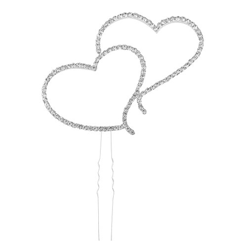 - uxcell Metal Birthday Party Heart Shaped DIY Craft Cupcake Cake Pick Topper Silver Tone
