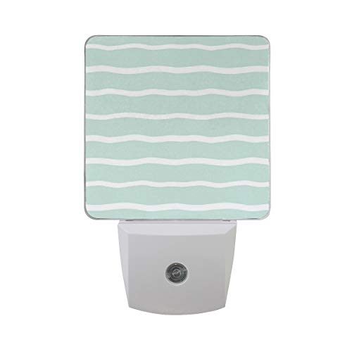 Colorful Plug in Night,Horizontal Wavy Lines White Striped Abstract Soft Toned Nautical Art Display,Auto Sensor LED Dusk to Dawn Night Light Plug in Indoor for Childs Adults]()