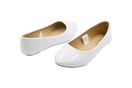 Sara Z Girls Vegan Patent Slip On Ballet - White And Gold Dress Kids