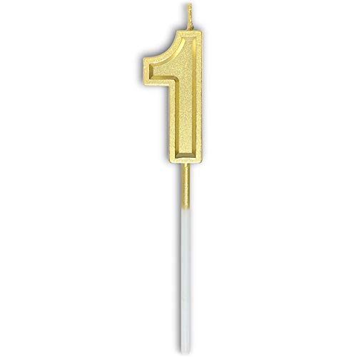 Dollet Gold Birthday Candles Number 1 Cake Topper Decoration Glitter Candle for Party Anniversary Kids Adults
