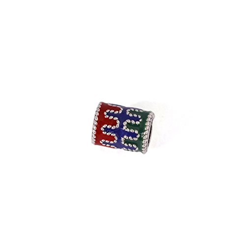 Beautiful Bead 925 Sterling Silver Multi Color Enamel Cylinder Large Hole Beads for Bracelets DIY Jewelry Making 1 Pcs