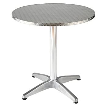 Euro Style Allan Round Stainless Steel Top Indoor/Outdoor Bistro Table With  Aluminum Base,