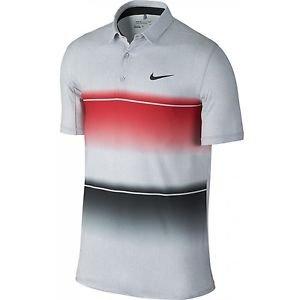 b733a5687a3 Nike Golf Men Mobility Stripe Polo Shirt Standard Fit Grey Red Black  873126-657