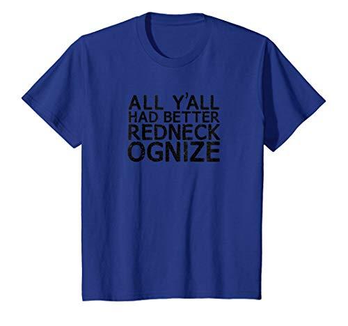 Kids Redneckognize Funny Redneck Tee Shirt, Country Humor Trucker 4 Royal Blue -