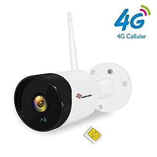 Sanan 1080P 4G LTE SIM Card GSM Outdoor Camera Mobile Cellular Security Camera No WiFi, Weatherproof, Night Vision, ONVIF, TF Card Slot Cloud Storage [US Version]