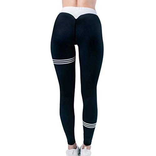 Donna Casuale Yoga Allenamento Nero a Elastico Moda 1 Pantaloni Lungo Pantaloni Pantaloni Jeggings Vita Righe Lunghi con in Comodi Fitness Palestra Sportivi rB6rOPx
