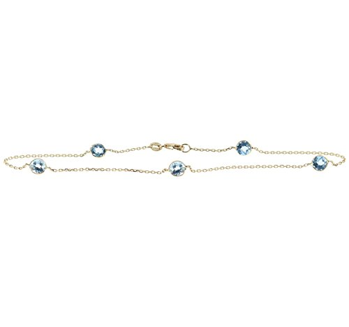 Topaz Anklet - 14k Yellow Gold Gemstone Anklet With Round 5mm Blue Topaz Stations 9-11 Inches