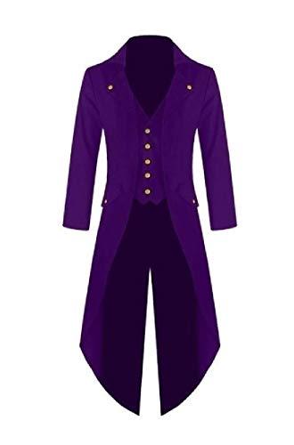 HEFASDM Homens swallowtail manga comprida partido elegante steampunk Parka outwear Purple L