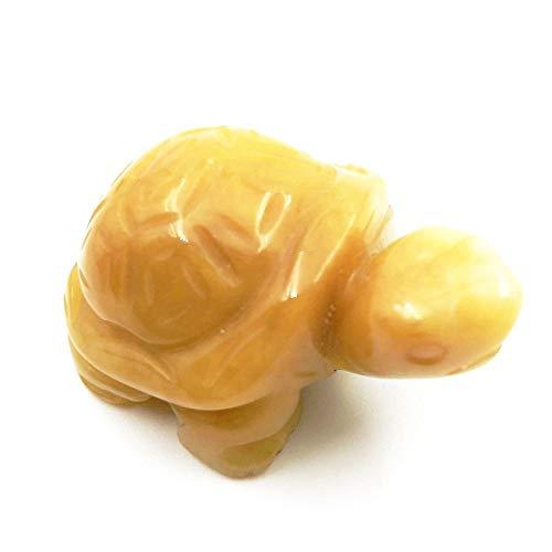faovramulet Hand Carved Stone Turtle Tortoise Animal Figurine Pocket Statue Sculpture, Yellow Jade 1.5