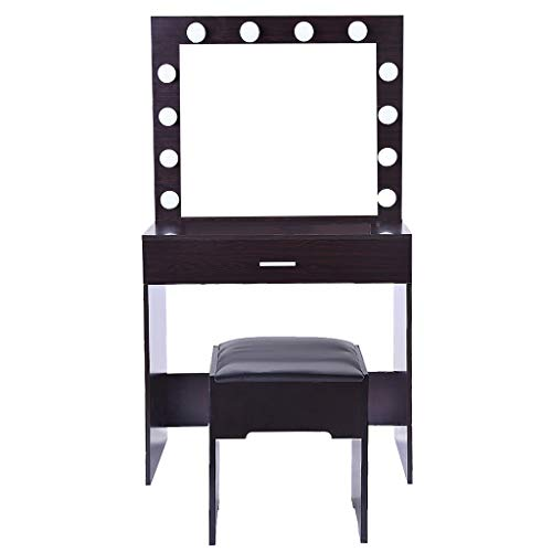 Flexmus Vanity Set with LED Lighted Mirror, Makeup Vanity Dressing Table Dresser Desk Cushioned Stool for Bedroom US Stock