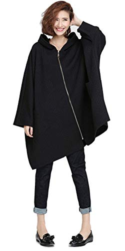 - Ninmon Shares Women's Coat for Autumn Winter Bat Sleeve Jacket Pullover with Pocket Plus Size (Black, One Size)