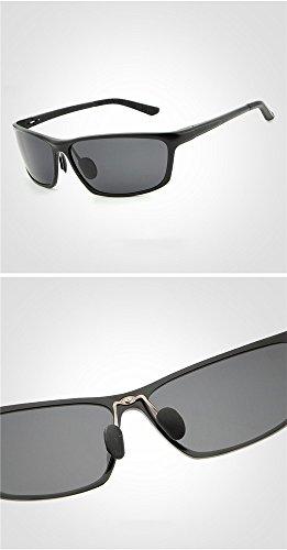 Sol Aire marco de Película Libre Gafas RFVBNM Gafas negro Hombres Gris de Vista negra UV Montar Pesca Plata Lente al Personalidad Gafas Noche polarizadas Moda Marco Moda sol Lente HpCwU
