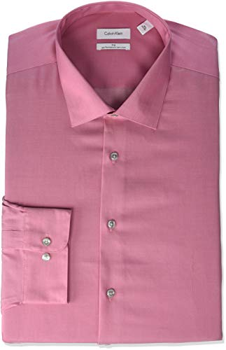 Calvin Klein Men's Big and Tall Dress Shirts Non Iron Herringbone Solid, Antique Rose, 20