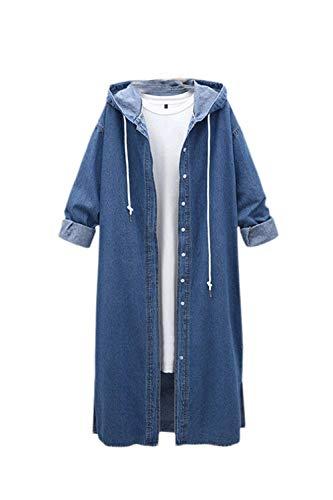 Manga Primavera Azul Mujer Jeans Otoño Chaquetas Abrigo Largos Retro Vintage Chaqueta Botón De Abiertas Abrigos Classic Moda Elegante Larga Encapuchado Mezclilla 8RwxA6