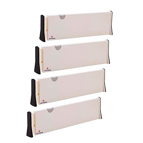 RAPTUROUS Drawer Dividers - Pack of 4 Expandable Dresser Drawer Organizers with Anti-Scratch Foam Edges - Adjustable Drawer Organization Separators for Kitchen, Bedroom, Bathroom & Office Drawers ()