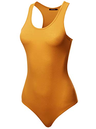 Awesome21 Solid Cotton Base Racer-Back Bodysuit Gold Mustard M