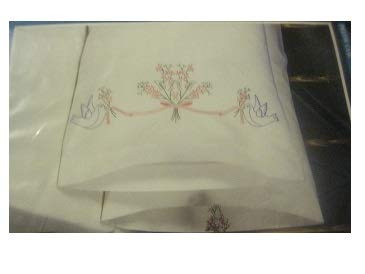 Bucilla Stamped Embroidery Pillow Cases Pair Love Birds