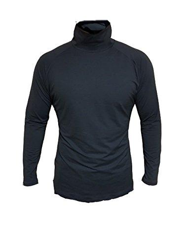 ハイネックインナ-シャツ UVカット99%(UPF50+) 【ホワイトビューティー】 (ブラック, Lサイズ(メンズ))
