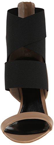 Delman Jean Dress Sandalo Bianco Pelle Di Vitello / Elastico Nero