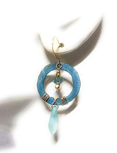 - Icicle Boho Blue Verdigris Patina Hoop Earrings in Copper Frosted Blue Drop & Faceted Bead Gift Ideas for Women