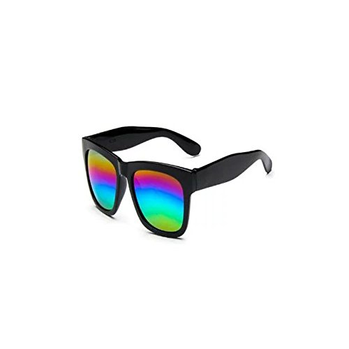 Garrelett Color Mirror Lens Large Square Horn Rimmed Sunglasses Reflective Sun Eyewear Eyeglasses Black Frame Colorful Lens for Men & Women Outdoor - Uk Sunglasses Clip On